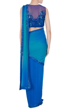 Cobalt blue chiffon sequin embroidered pre-draped saree with blouse