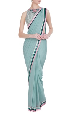Rajat & Shraddha Dusty blue georgette sequin border saree with rose embroidered blouse