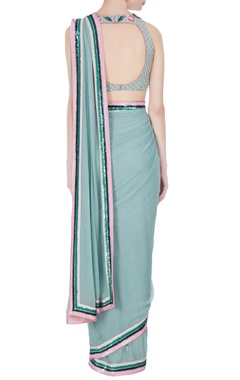 Dusty blue georgette sequin border saree with rose embroidered blouse