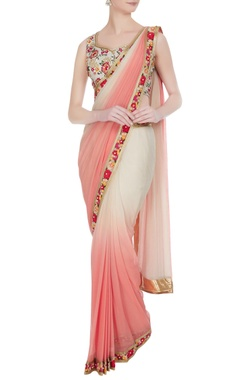 Ivory & peach sequin & resham thread embroidered pre-draped sari with blouse