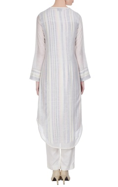Ivory cotton chanderi jacket tunic with inner & pants