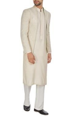 Kunal Anil Tanna - Men Ivory chanderi front open bandhgala jacket