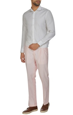 Kunal Anil Tanna - Men Pink pleated chanderi trousers