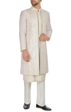 Kunal Anil Tanna - Men Ivory & pink chanderi front open textured achkan jacket with kurta & churidar