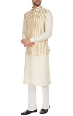 Kunal Anil Tanna - Men Beige spun silk bandhi jacket