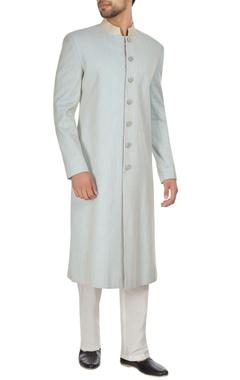 Kunal Anil Tanna - Men Powder blue spun silk sherwani with embroidered buttons & pants