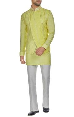 Kunal Anil Tanna - Men Yellow spun silk overlap lucknowi bandi jacket