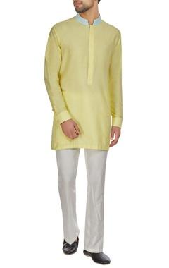 Kunal Anil Tanna - Men Yellow spun silk kasab embroidered kurta set