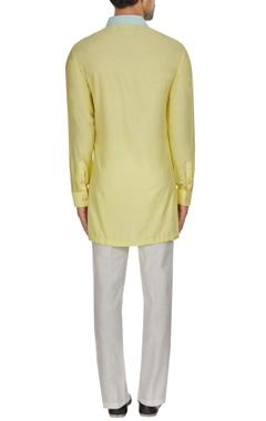 Yellow spun silk kasab embroidered kurta set