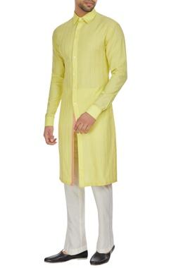 Kunal Anil Tanna - Men Yellow spun silk checks textured long kurta set