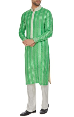 Kunal Anil Tanna - Men Green spun silk silver gota embroidered kurta set