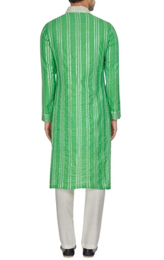 Green spun silk silver gota embroidered kurta set