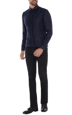 Khanijo Midnight blue linen solid shirt
