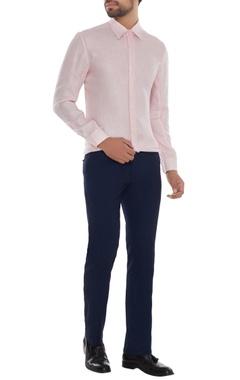 Khanijo Powder pink linen solid shirt