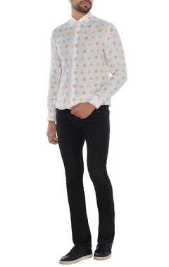 Khanijo Ivory linen printed shirt