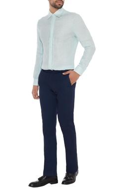 Khanijo Powder blue linen solid shirt