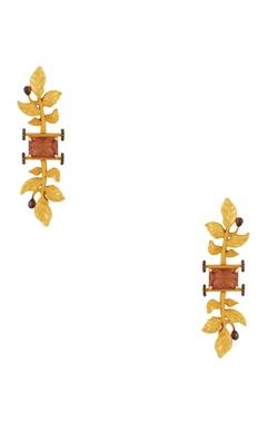 Khushi Jewels Leaf motif long earrings