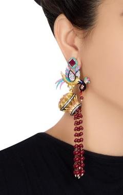 Bird motif long dangling earrings