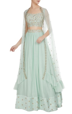 Mani Bhatia Cutdana & sequin embroidered cape with lehenga & bustier
