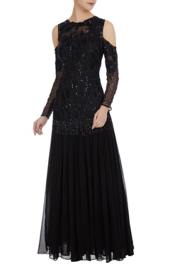 Mani Bhatia Sequin & cutdana bead embroidered cold-shoulder gown
