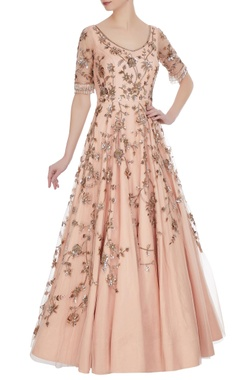 Net sequin & nalki bead embroidered bridal gown