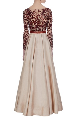 Dupion silk bead & sequin pleated gown