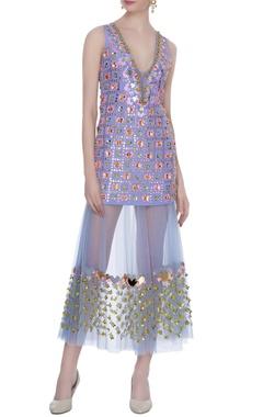 Lilac tulle embellished short dress & inner skirt