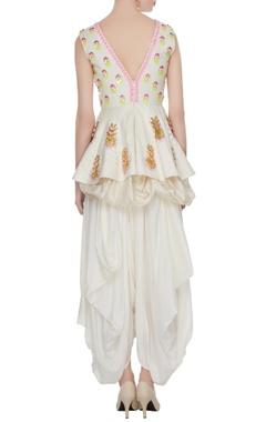 White matka silk embroidered peplum top with dhoti
