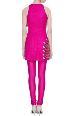 Hot pink matka silk embroidered kurta & churidar