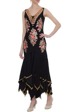 Black satin crepe sequin embellished handkerchief kurta & dhoti skirt