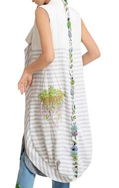 Grey pure handwoven linen draped dress