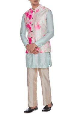 Ivory tie dye safari jacket inspired bundi with metallic buttons