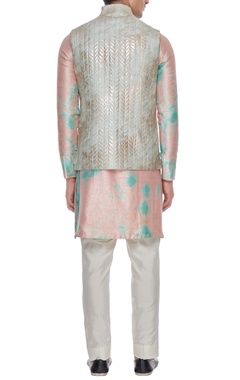 Pale blue quilted & metallic foiled stand collar bundi with buttons