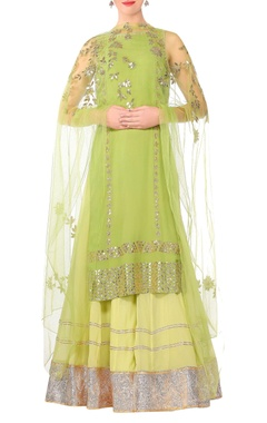 Devnaagri Green gota work straight kurta with sharara