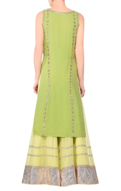 Green gota work straight kurta with sharara
