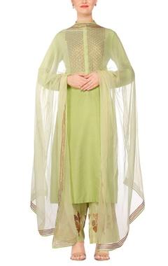 Light green embroidered kurta with gota pants & chiffon sheer dupatta