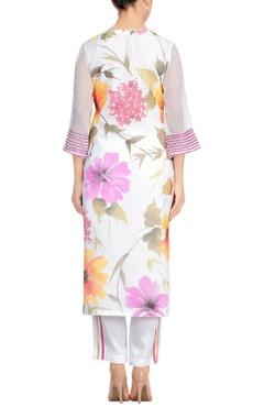 White & pink cotton chanderi hand painted floral kurta set
