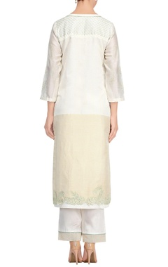 Off-white & green cutwork & lace kurta set
