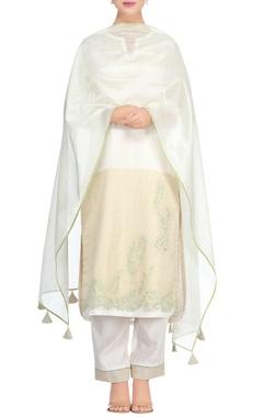 Devnaagri Off-white & green cutwork & lace kurta set
