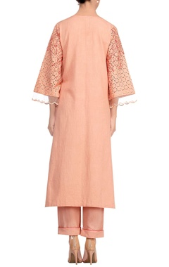 Rusty orange khadi lace kurta set