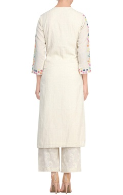 Off-white khadi a-line kurta set