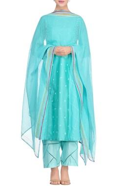 Devnaagri Blue khadi block printed kurta with shantoon pants & dupatta