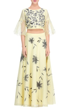 Devnaagri Pale yellow applique work blouse with lehenga