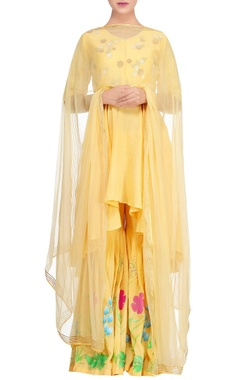 Devnaagri Yellow embroidered asymmetric kurta with floral work gharara & dupatta