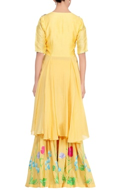 Yellow embroidered asymmetric kurta with floral work gharara & dupatta