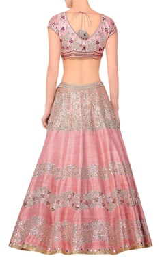 Pink raw silk lehenga with light rose raw silk blouse & burgandy organza & net dupatta