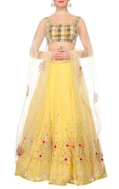 Devnaagri Yellow georgette lehenga with chequered blouse & yellow net dupatta