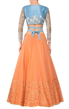 Orange georgette lehenga with blue raw silk blouse & blue net dupatta