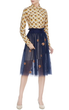 Navy blue tulle net pleated skirt with paper bag waist
