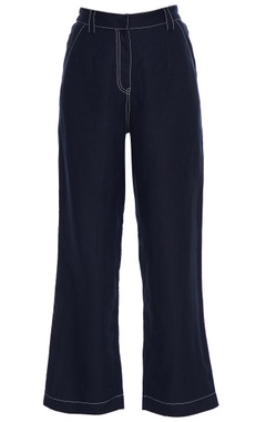Blue high waist flared pants